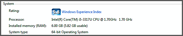 System 64 Bits information