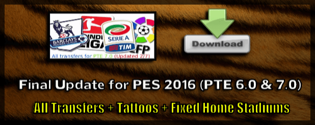 Final Update for PTE Patch 6.0 (PES 2016)